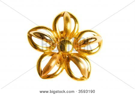 Flower Shaped Gold Earring Isolated On White