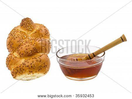Honey  and challah are symbols of Jewish New Year - rosh hashanah
