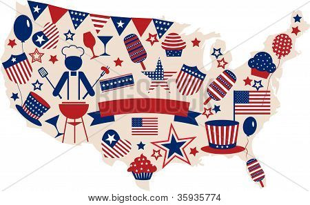 USA vector icons for american independence day