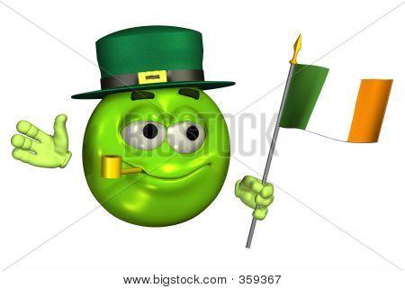 Leprechaun Emoticon With Irish Flag