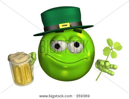 Leprechaun Emoticon con cerveza