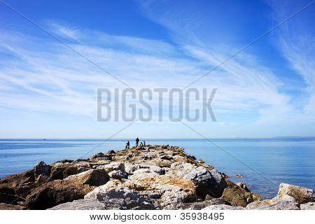 Sea, Sky And Pier In Marbella, Spain