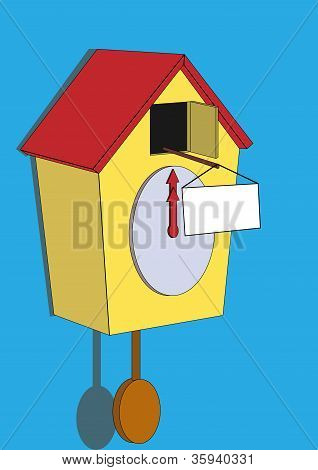 cuckoo clock with a sign