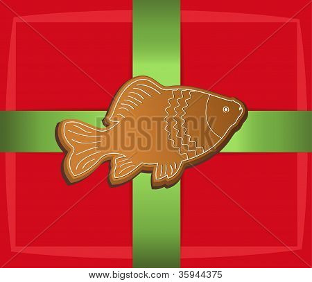 christmas gift label card fish carp