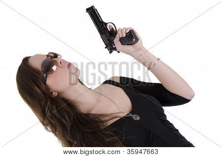 Young woman with gun.