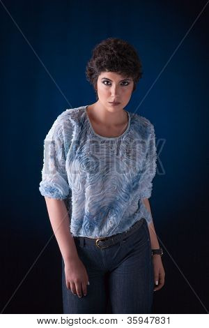 Beautiful Young Woman, Looking To Camera, Studio Shot
