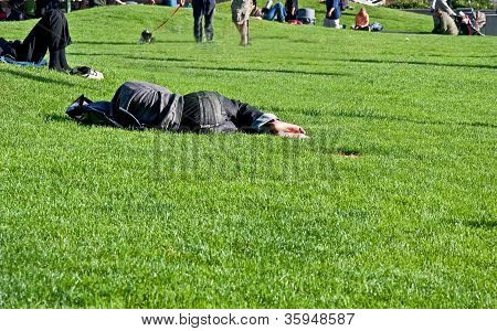 Homeless Person Sleeping In Park