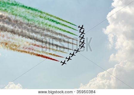 Demonstrative Performance Of Italian Aerobatic Team At The Air Show