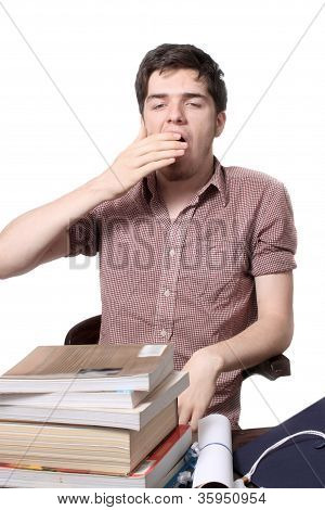 Tired Male Teen Yawning