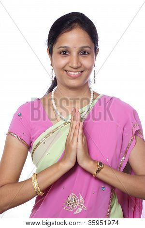 Young Indian Traditional Woman In Prayer Position