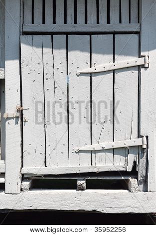 Old White Wooden Barn Door