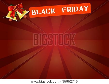 Black Friday Banner and Bell on Red Starburst Background