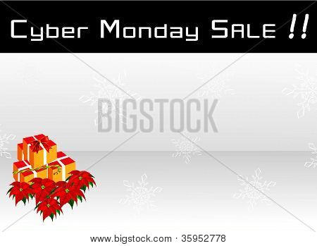 Cyber Monday Sale Banner on Snowflakes Background