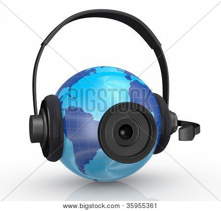 World Globe With Headphones And Webcam