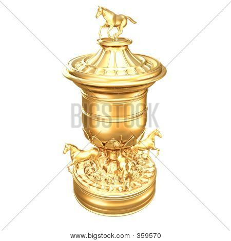 Gilded Horse Racing Trophy