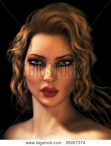 Digital Illustration Portrait Of Young Blond Woman