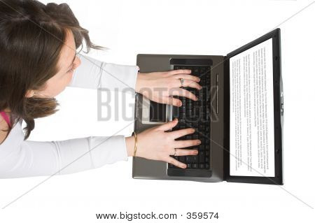 Casual Woman Browsing On Laptop