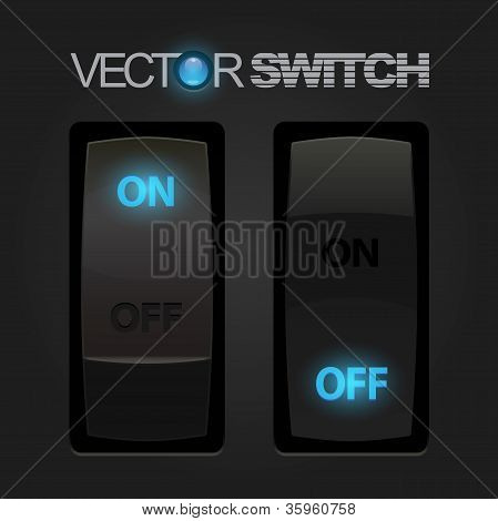 Cool Realistic Toggle Switch. Vector