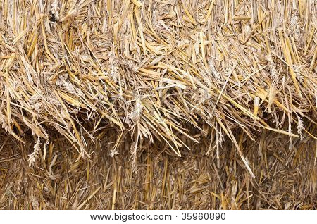Closeup Of Stacked Bales Of Straw