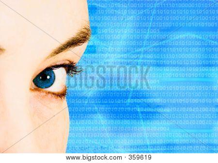 Ojo azul hermoso para la tecnología