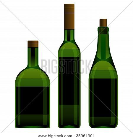 Green bottles different size