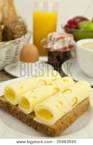 Breakfast In Morning With Fruits And Cheese Toast And Coffee