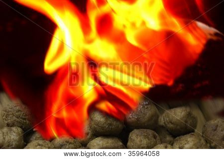 Flames Of Fire On Grill