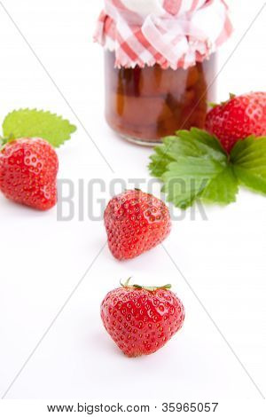 Deliscious Strawberry Jam With Fresh Fruits Isolated