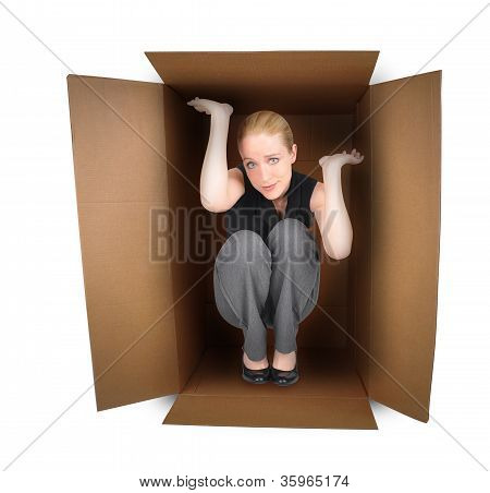 Business Woman Trapped in Box