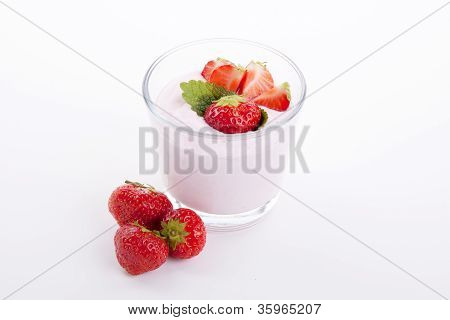 Fresh Deliscious Strwaberry Yoghurt Shake Cream Isolated