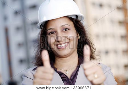 Female Industrial Engineer Showing Thumbs Up