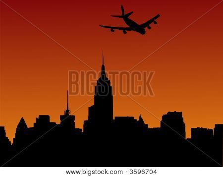 Plane Arriving In Manhattan