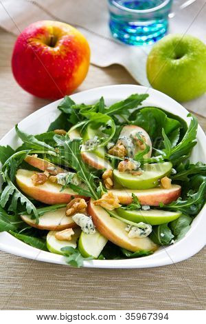 Apple,Walnut and Blue cheese with rocket salad