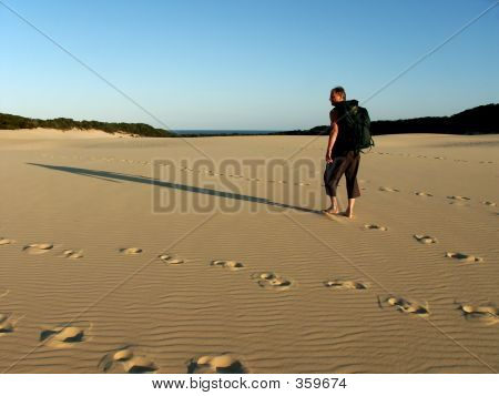 Old Man Hiking Dunes
