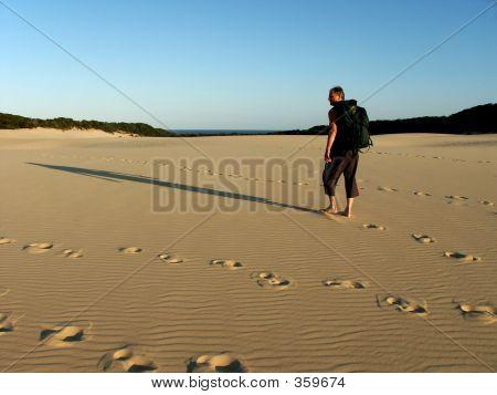 Old Man Hiking Dunes