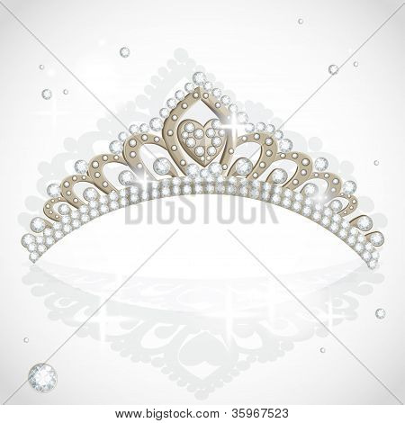 Tiara de vector brillante con diamantes