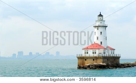 Chicago Lighthouse With Skyline In Background