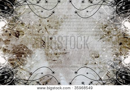 Grungy Frame Floral