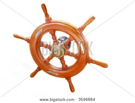 Ship Wheel Over White