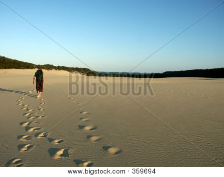 Man Hiking Dunes