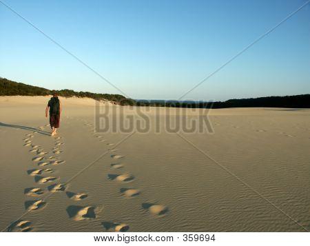 Man Hiking Dunes