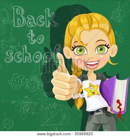Banner - volta às aulas - linda garota na placa pronta para aprender