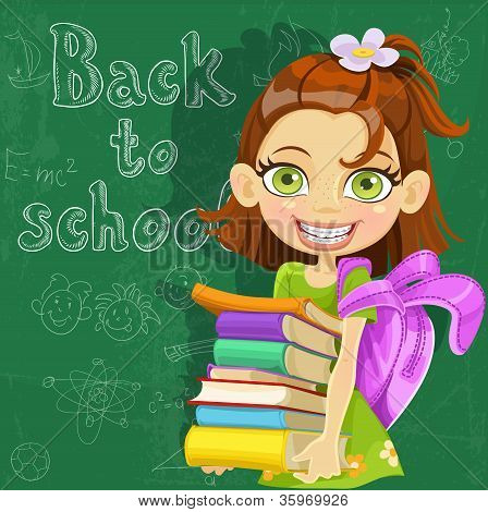 Banner - Back to school - cute girl with  books at the board ready to learn