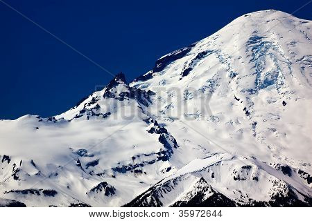 Snowy Mount Rainier Close Up With Crater