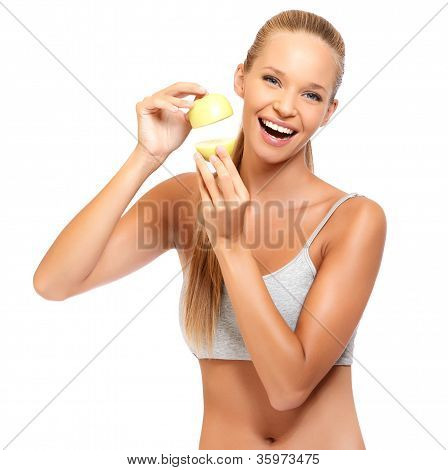 Closeup Portrait Of A Happy Woman With Apples
