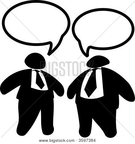Two Big Fat Business Men Executives In Suits & Ties Talk.Eps
