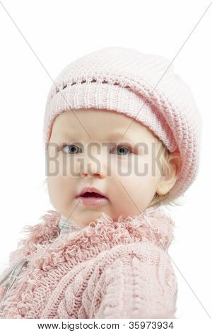 Portrait Of Young Little Girl Over White