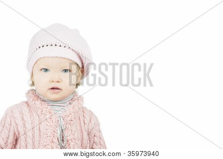 Little Cute Portraot Of Toddler In Pink Cap
