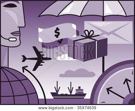 A Collage Of A Man; Ship; Umbrella; Globe; Airplane And Money