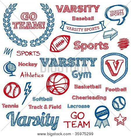 School Sports Hand-drawn Elements